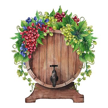 Watercolor wine barrel decorated with bunches of grapes and leaves. by Glazkova