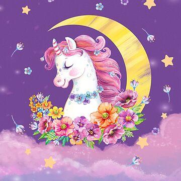 watercolor unicorn& flowers by sprut2005