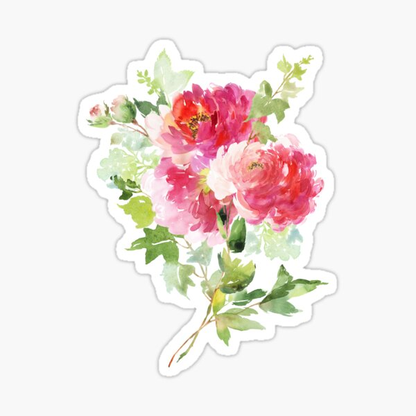 Wild Peonies Bouquet in Pink Watercolor Sticker