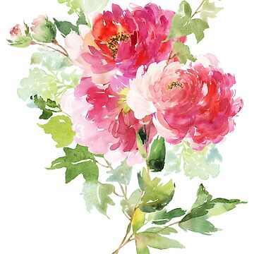Wild Peonies Bouquet in Pink Watercolor by junkydotcom