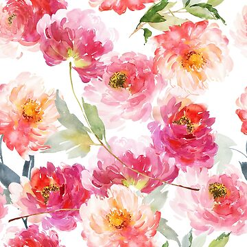 Pink Coral Peonies Watercolor Illustration by junkydotcom