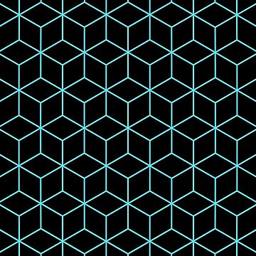 3-D Cube Effect Pattern (Aqua on Black) by lyle58