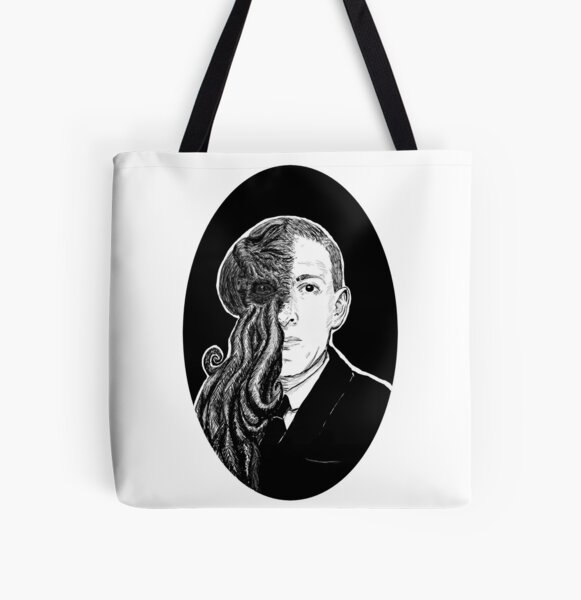 HP Lovecraft & Cthulhu Portrait All Over Print Tote Bag