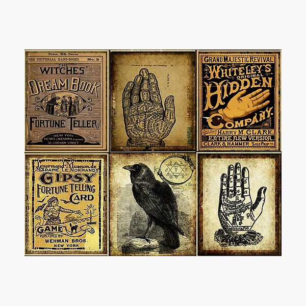 Palm Reading Palmistry Gypsy fortune Teller Vintage Gothic Halloween Photographic Print