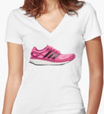 Pink Sport Shoes Women's Fitted V-Neck T-Shirt