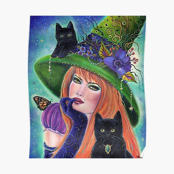 Griselda Halloween Witch art by Renee L Lavoie Poster