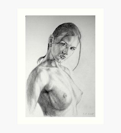 nude in pencil Art Print