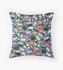 Blue Sushi Throw Pillow