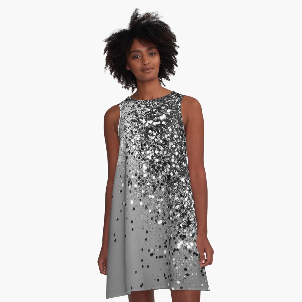 Sparkling Silver Gray Lady Glitter #1 #shiny #decor #art A-Line Dress Front