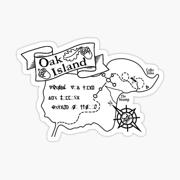 Oak Island Map  Sticker