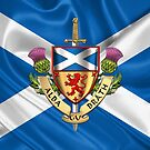 Scotland Forever - Alba Gu Brath - Symbols of Scotland over Flag of Scotland by Serge Averbukh