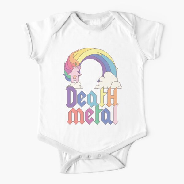 Funny Death Metal Unicorn Cute Rock Music Band Lover Short Sleeve Baby One-Piece