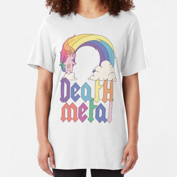 Funny Death Metal Unicorn Cute Rock Music Band Lover Slim Fit T-Shirt