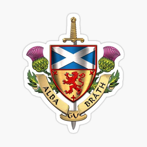 Scotland Forever - Alba Gu Brath - Symbols of Scotland over White Leather Sticker