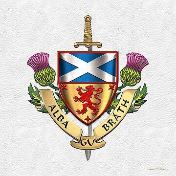 Scotland Forever - Alba Gu Brath - Symbols of Scotland over White Leather by Captain7