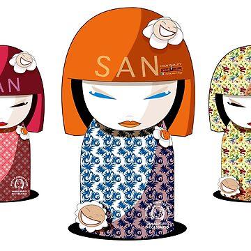 Trio Kokeshisan by pupazzodesign