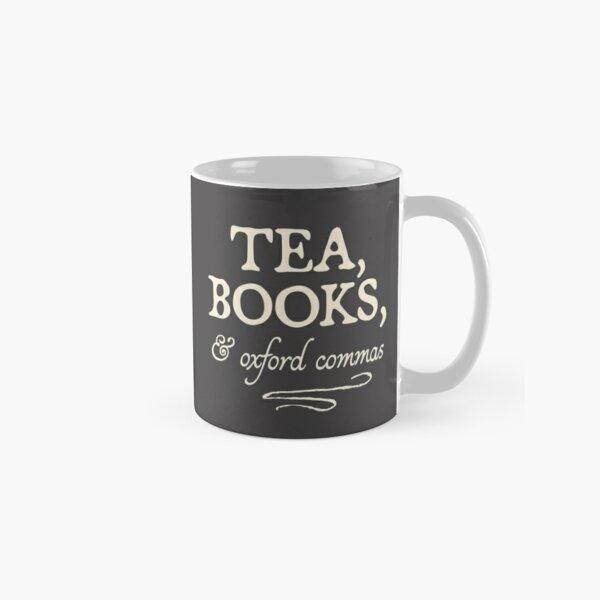 """Tea, Books, & Oxford Commas"" - funny grammar snob Classic Mug"