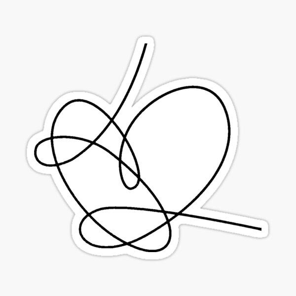 BTS répond coeur aime toi (noir) Sticker