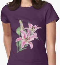 Pink Lilies Women's Fitted T-Shirt