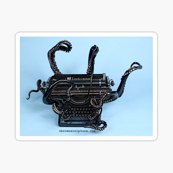 Full Color Vintage Style Octopus Typewriter Sticker