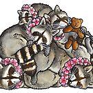 Sleeping pile of raccoons by animalartbyjess