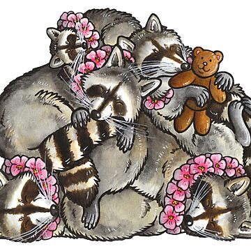 Sleeping pile of raccoons by animalartbyjess