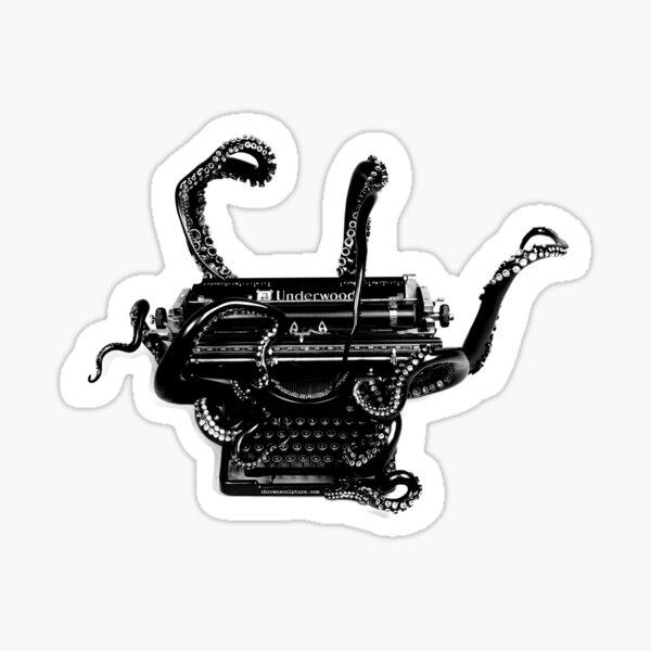B&W Vintage Octopus Typewriter Sticker