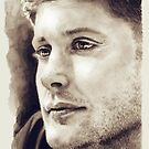 Jensen Ackles - Sepia watercolor by Levity