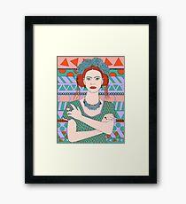 Frida Kahlo with roses in her hair Framed Print
