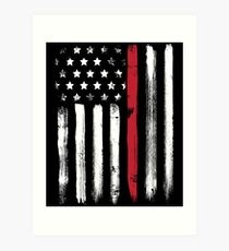 American Flag Thin Red Line Firefighter Art Print