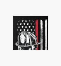 American Flag Thin Red Line Firefighter Helmet Art Board