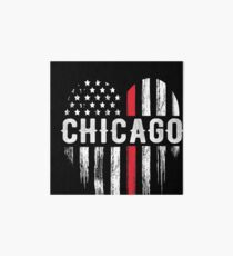 Thin Red Line Heart Chicago Firefighter Illinois Art Board