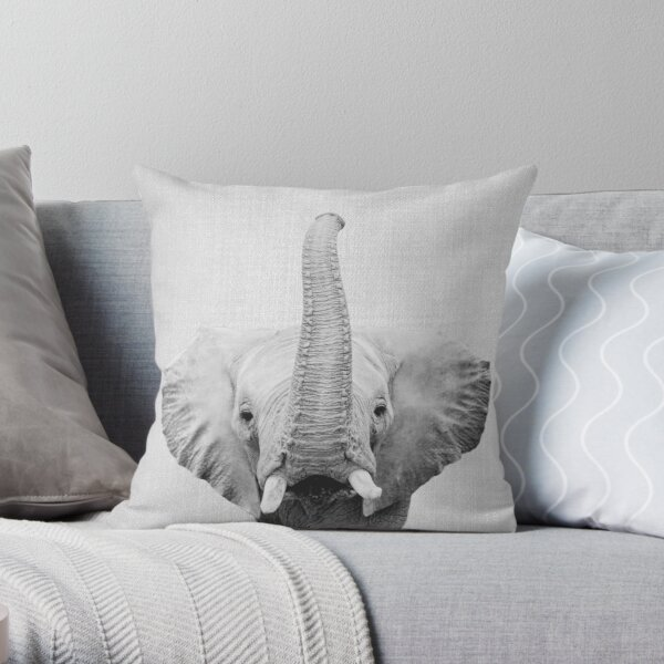 Elephant - Black & White Throw Pillow