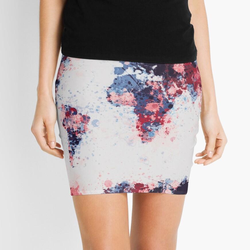 World Map Paint Splashes Mini Skirt
