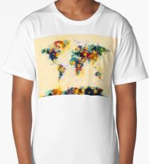 World Map Paint Splashes Long T-Shirt
