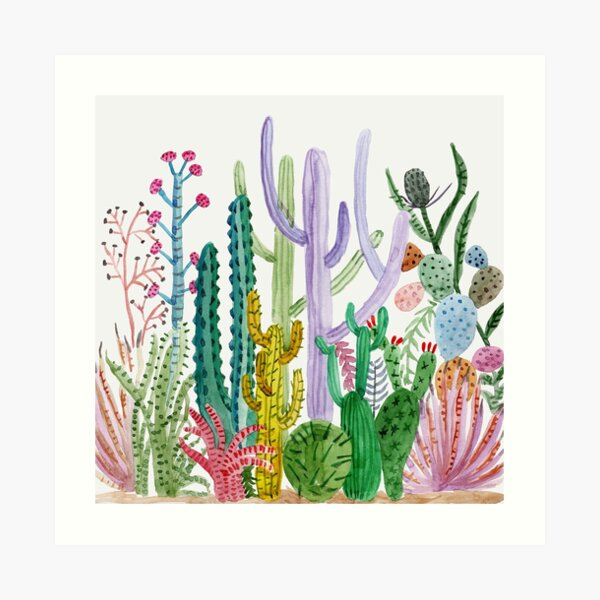 Randell 3D Printed T-Shirts Watercolor Collection of Cacti and Succulents Plants Short S