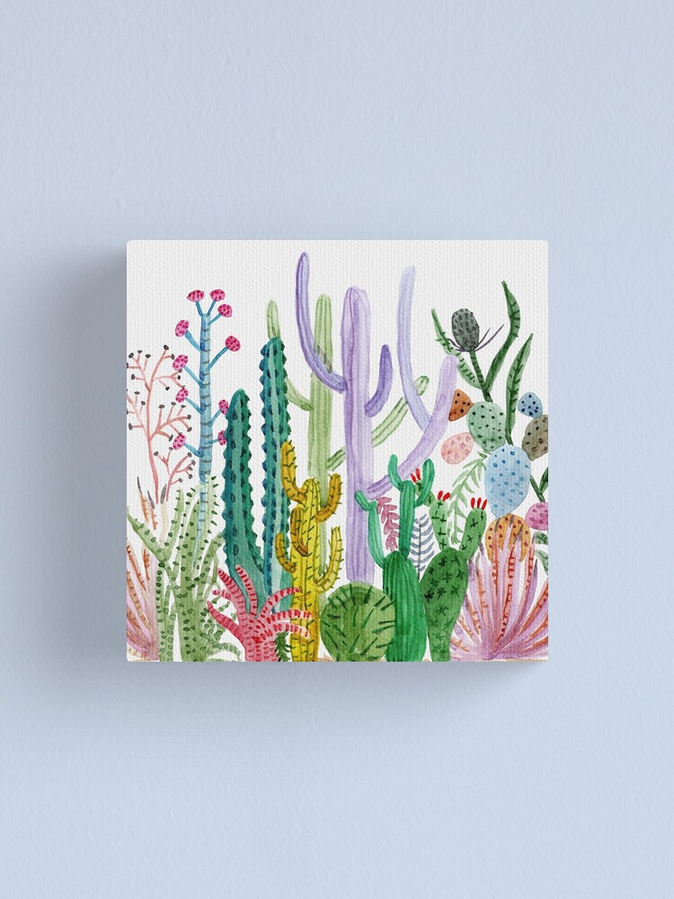 Alternate view of Watercolor Cacti Canvas Print