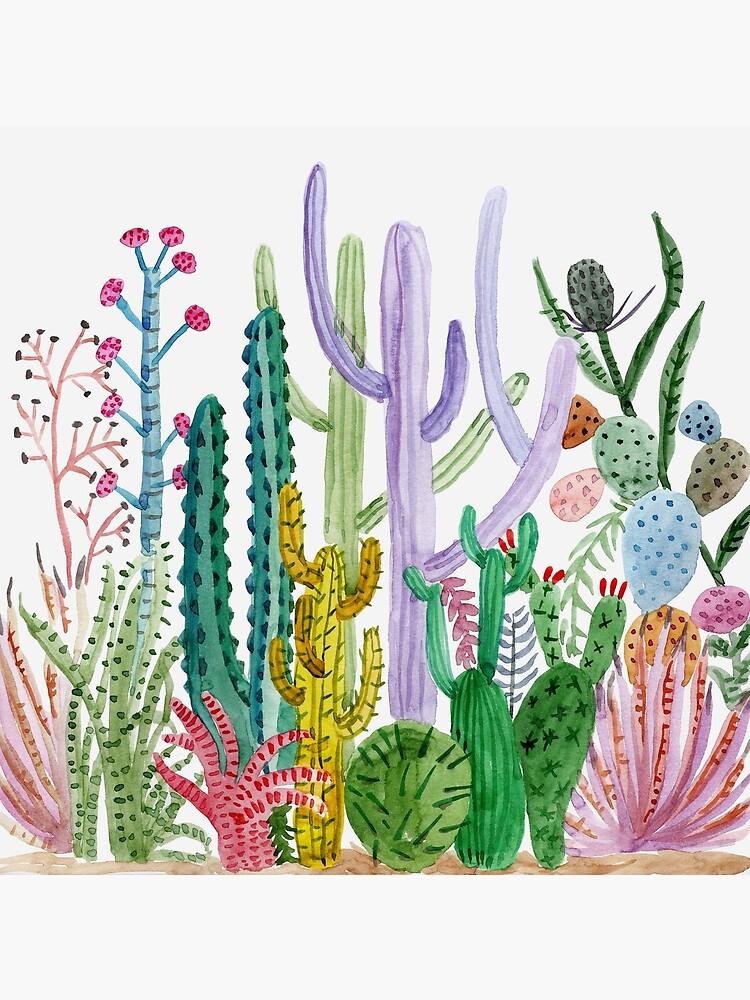 Watercolor Cacti by MarinaSotiriou