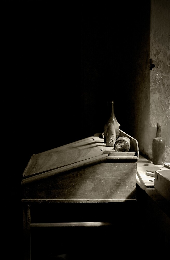 Dusty Wine and Writing Desk  by Sam Goodman