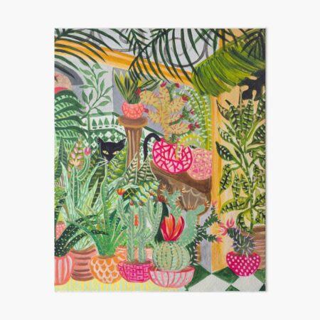 Black cat in the garden Art Board Print
