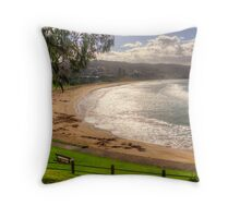 A bench with a view at Lorne in landscape Throw Pillow