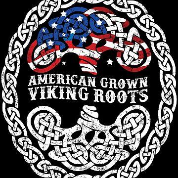 American Grown Viking Roots Yggdrasil Flag Tree Gift by kolbasound