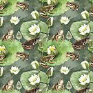 Frogs green and white water lilies pattern by SVETLANA ZOLOTAREVA
