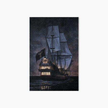 Pirate Ships Skull Island Poster Art Print Black /& White Card or Canvas