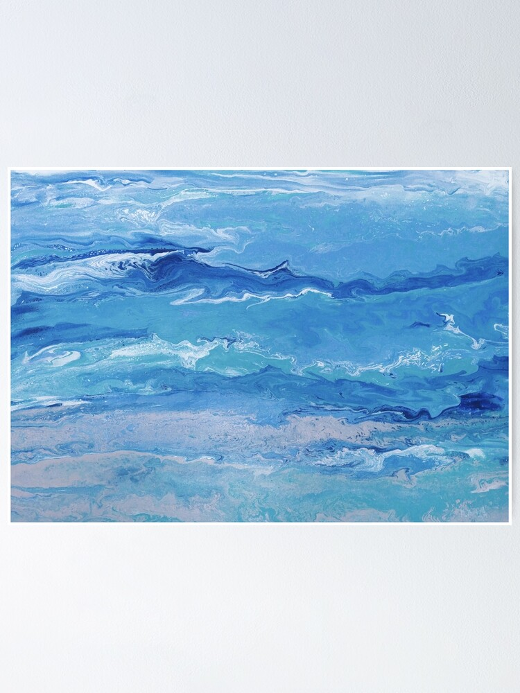 Modern Abstract Tranquil Seascape Poster By Mysticmern Redbubble