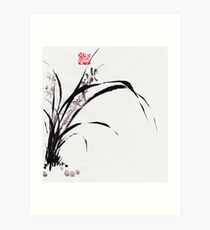 Japanese Orchid Design painted by Lee Henrik Art Print