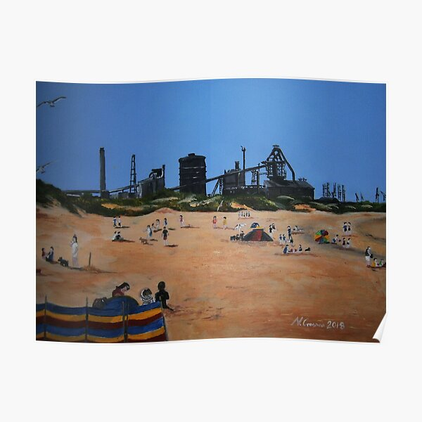 Redcar Beach and Steelworks Poster