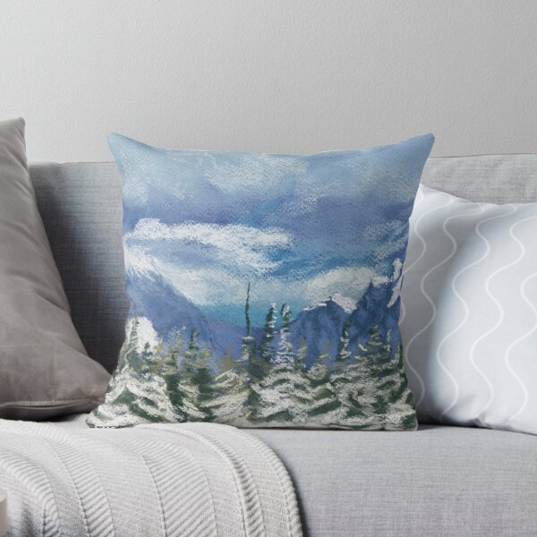 Mounts Chester and James Walker in the snow Throw Pillow