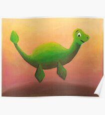 Nessie Swimming in Irn Bru Poster