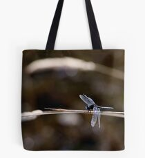 Dot-Tailed Whiteface Resting on Grass Stem Tote Bag